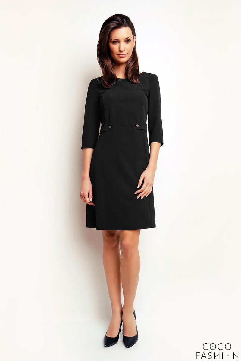 black-simple-office-style-34-sleeves-dress