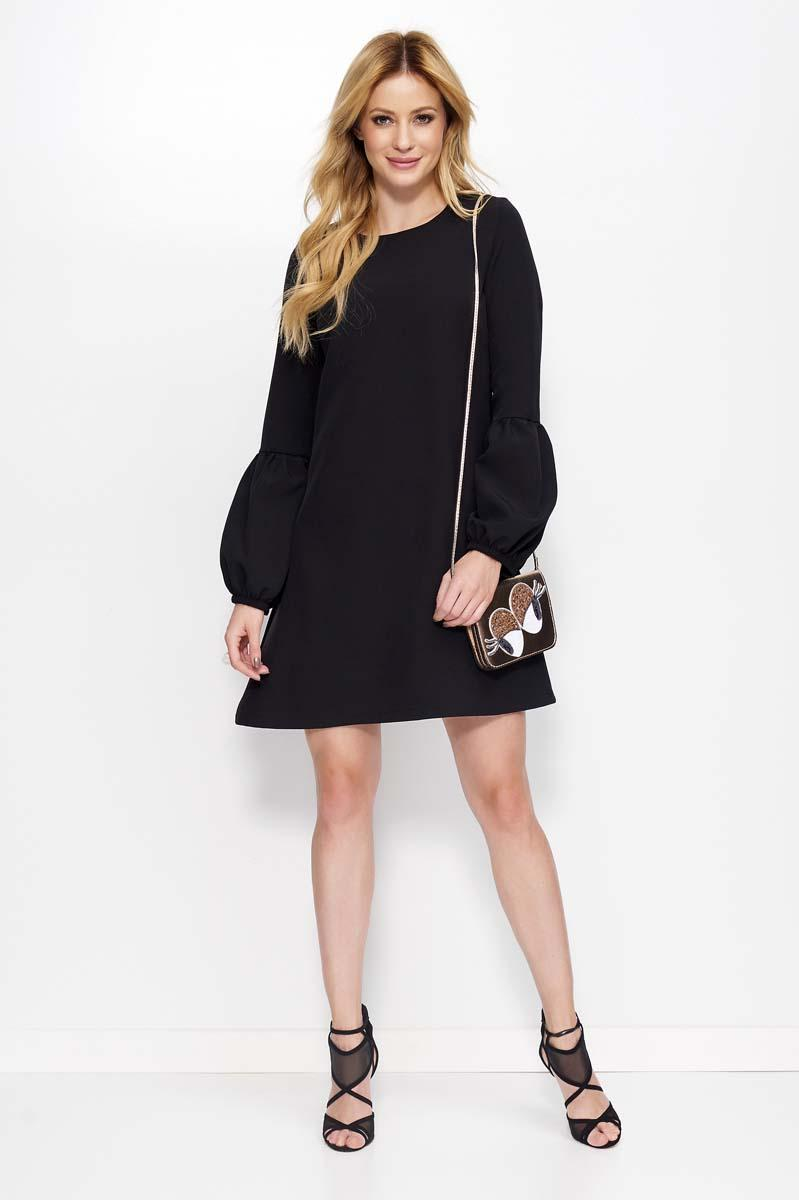 Black Flared Dress with Unique Sleeves