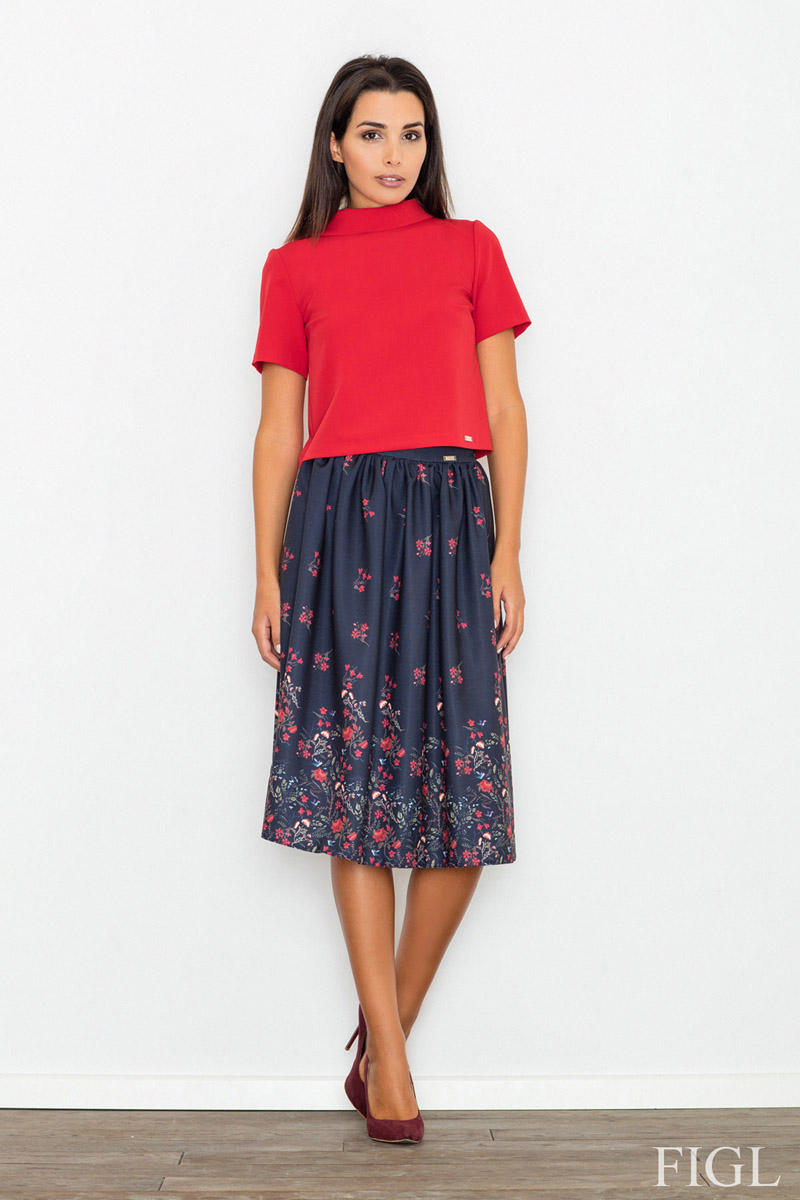 Dark Blue High Waist Midi Floral Pattern Skirt