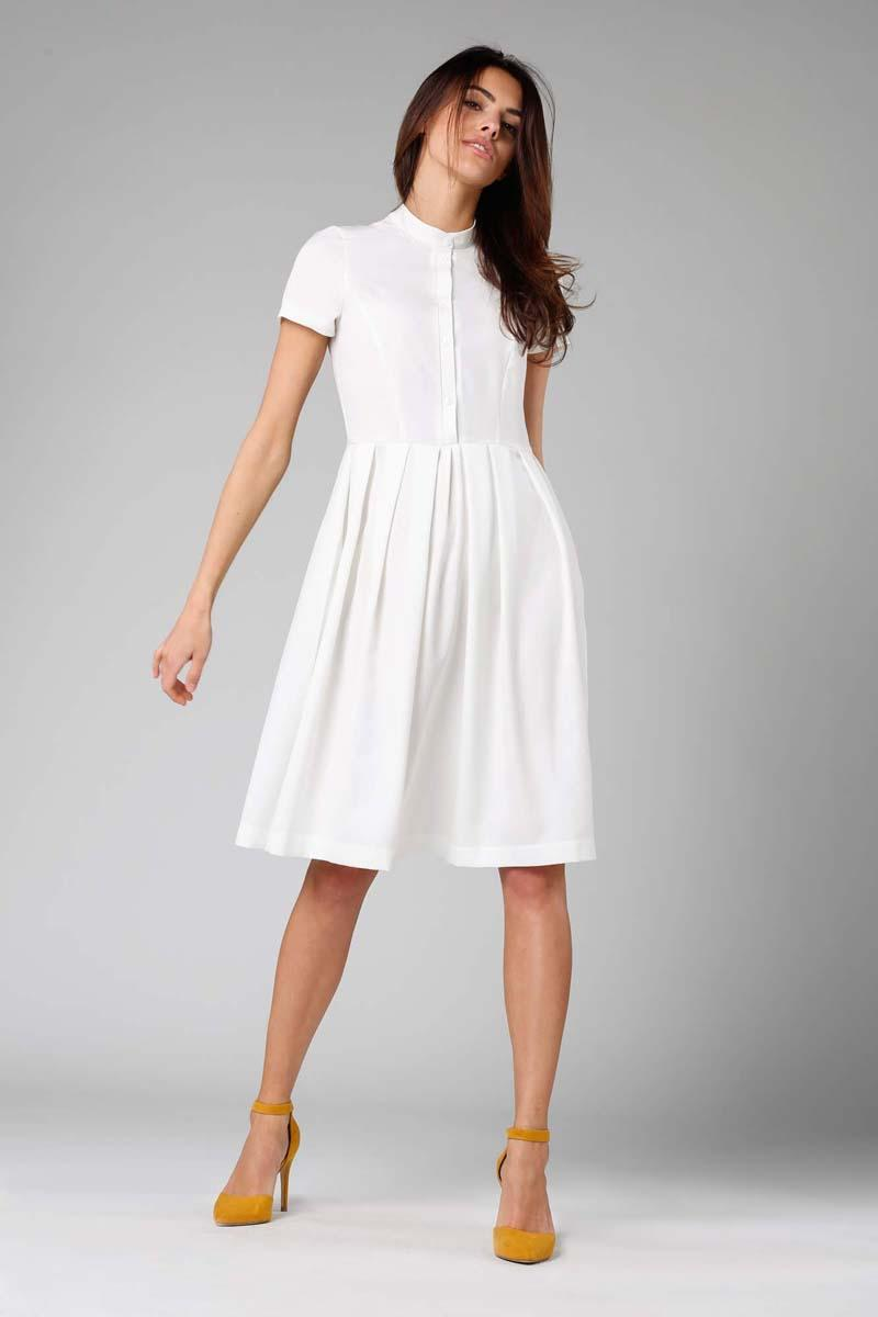 Ecru Flared short-sleeved Dress with Stand-up Collar