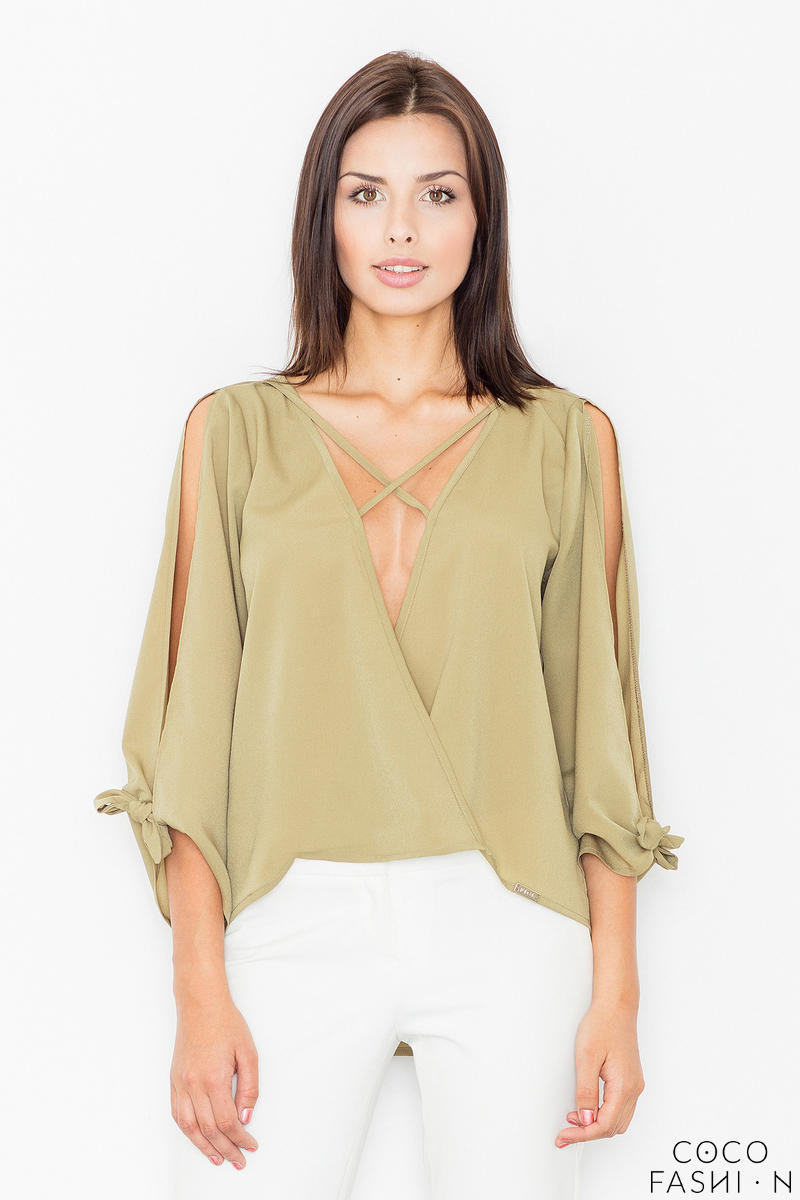 olive-green-cut-out-sleeves-stylish-blouse