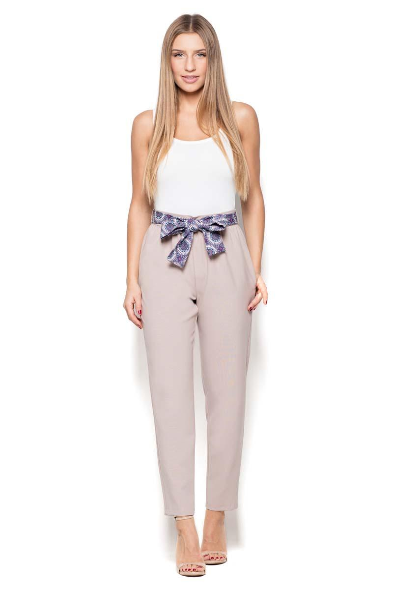 Beige Cigarette Pants with a Bow
