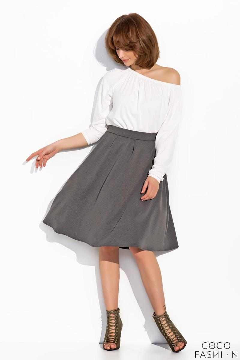 Dark Grey High Rise Flared Midi Skirt
