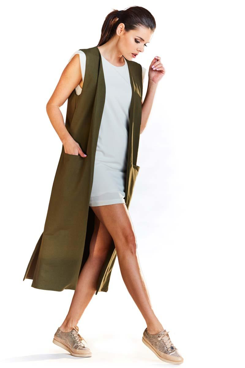 Khaki Long Knitted Vest with Pockets