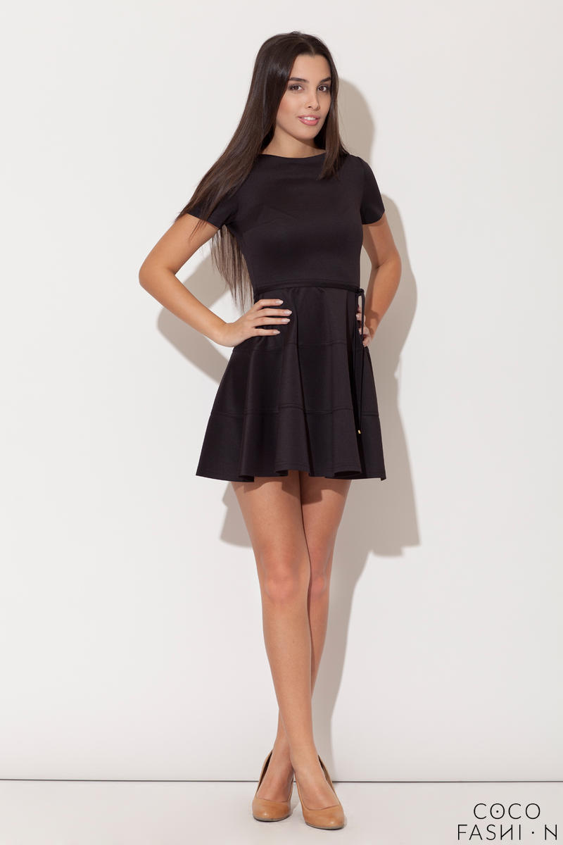 Black Cap Sleeves Bateau Neck Seam Dress