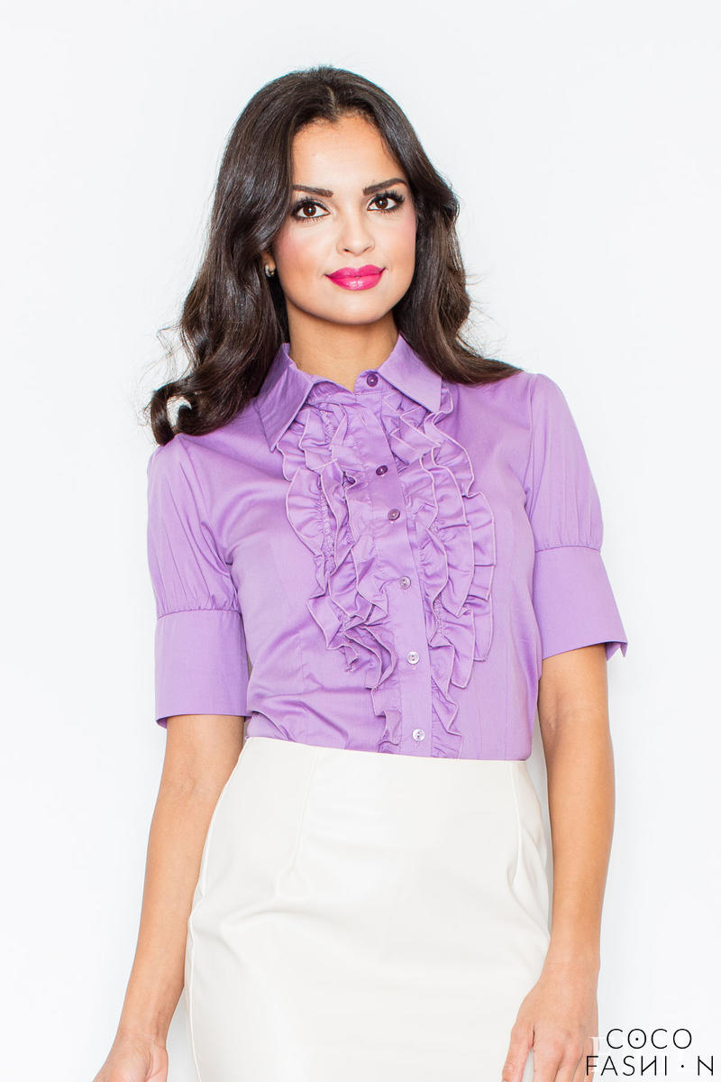 Purple Vintage Collared Blouse with Ruffled Details and Wide Cuffs