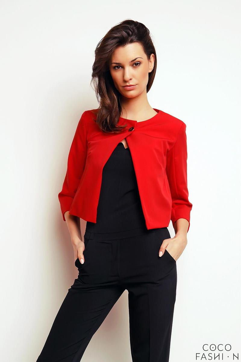 Red One Button Short Bolero Blazer