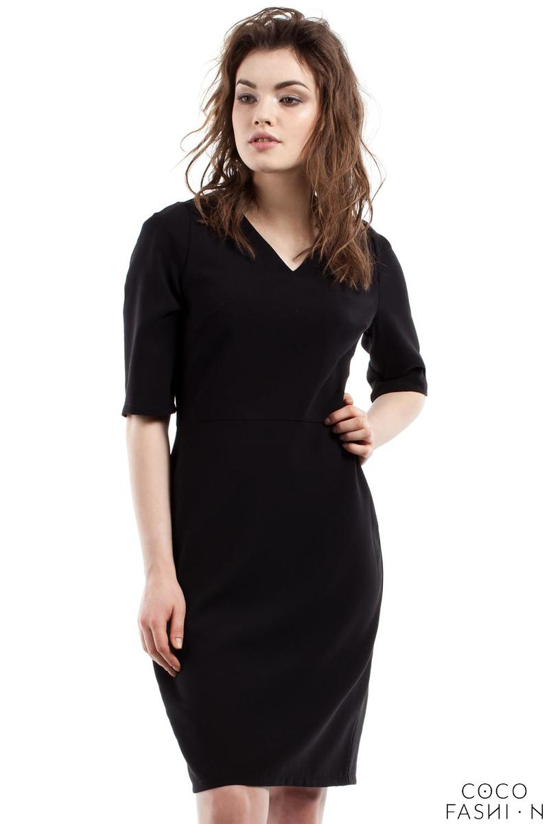 black-soft-office-style-knee-length-dress