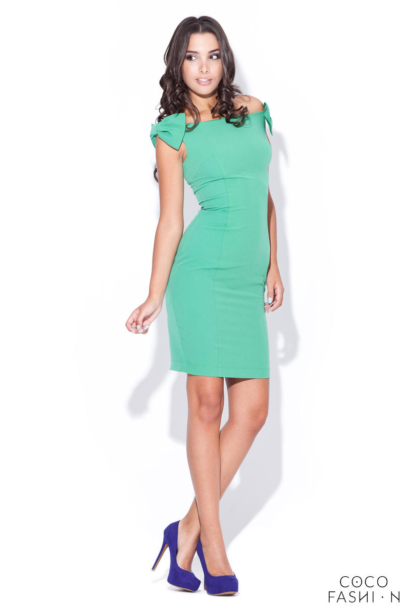 Green Mimic Bow Top Bandeau Dress