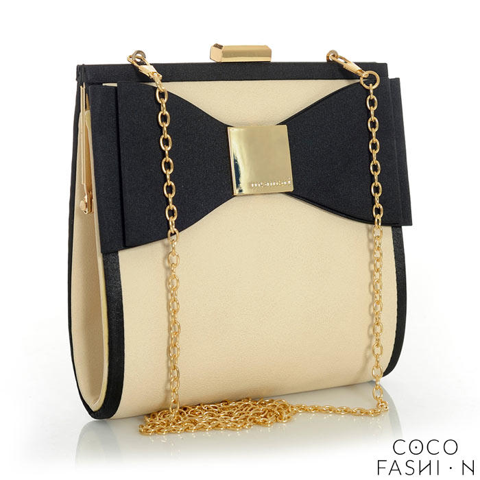 Beige Elegant Evening Clutch Bag with Bow and Chain от cocofashion