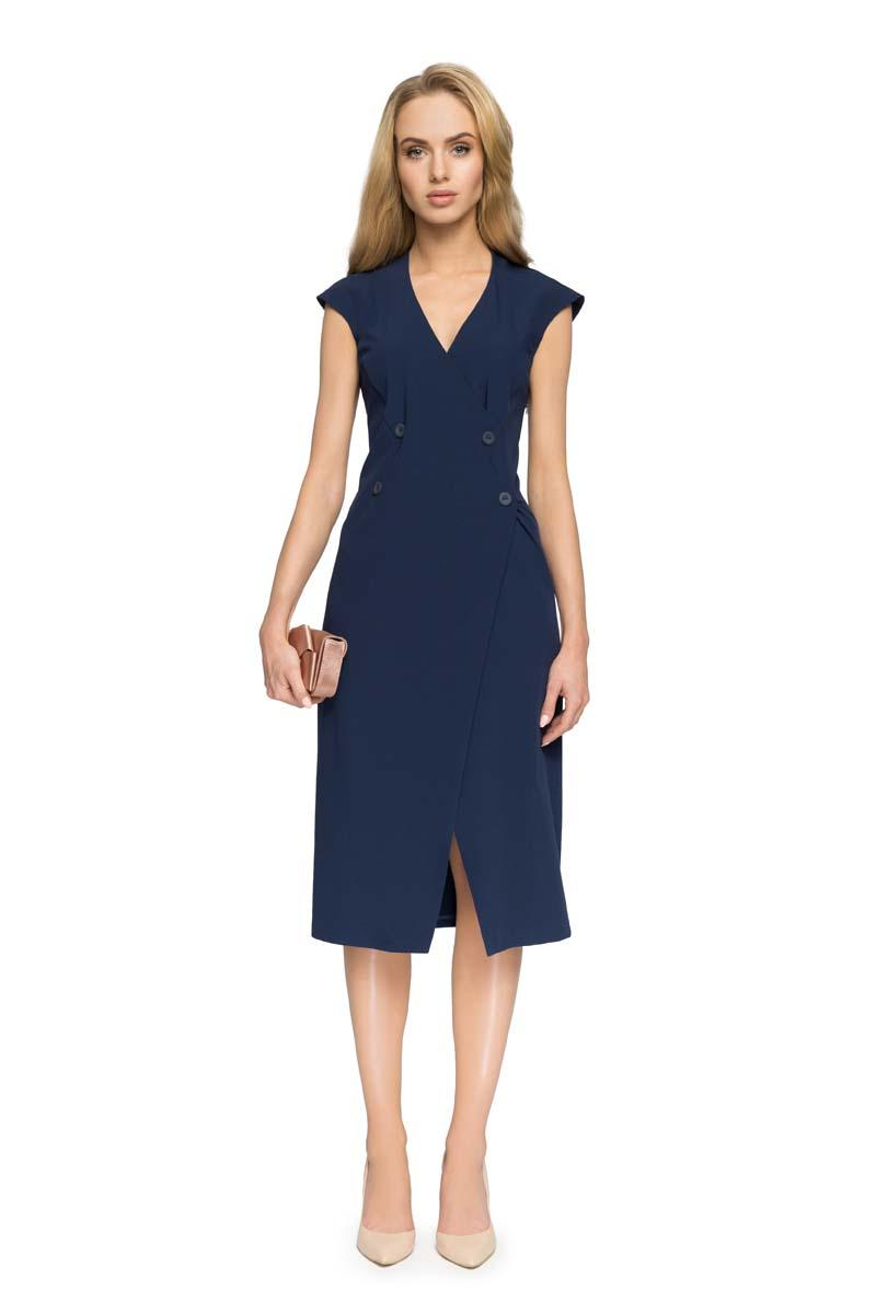 Asymmetrical V-neck Dress Navy Blue