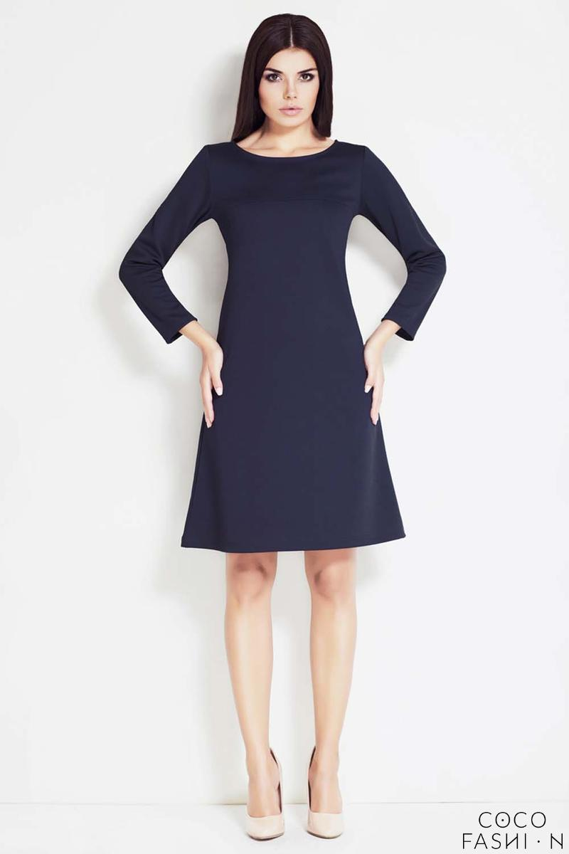 Navy Bateau Neck Long Sleeves Shift Dress