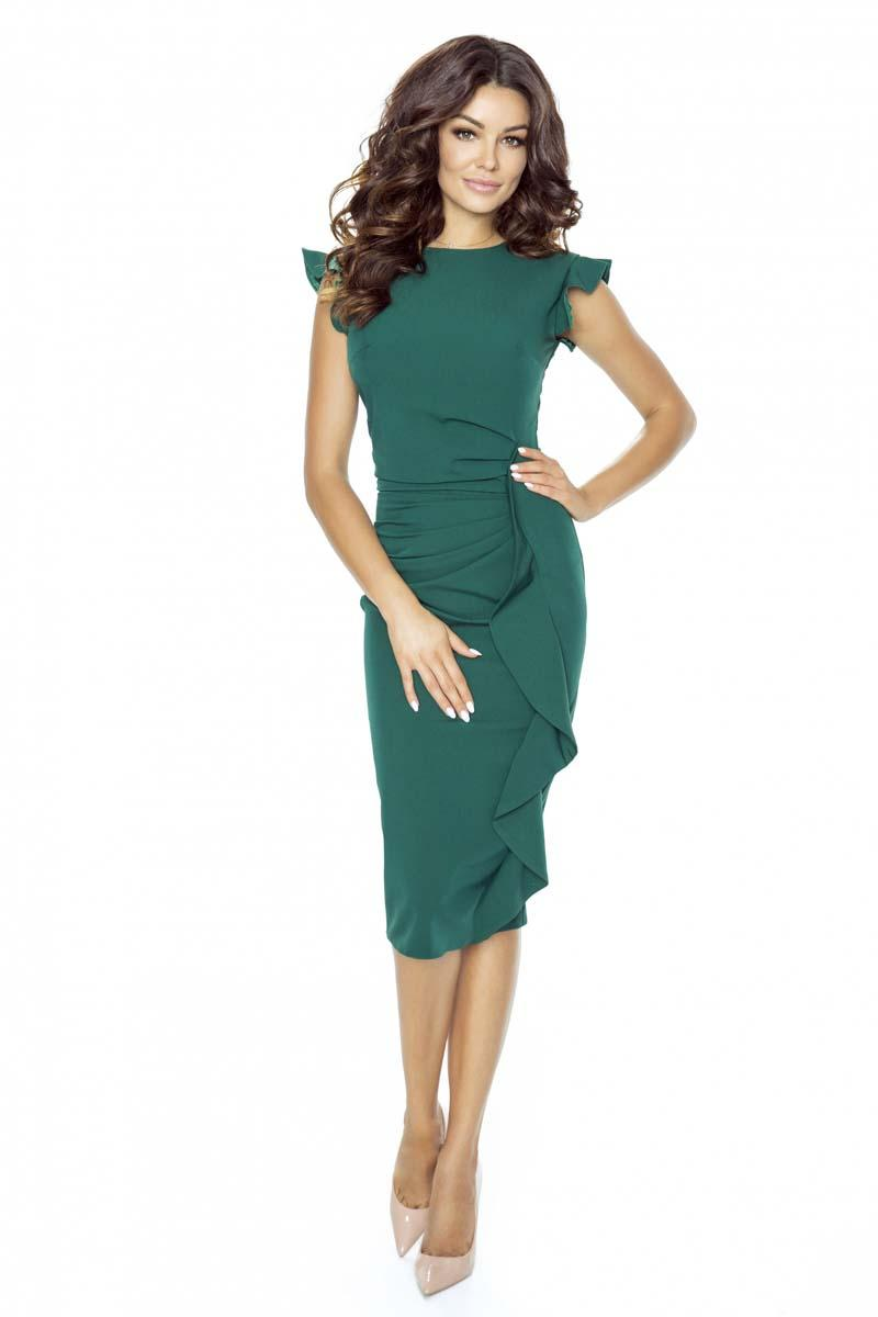Green Structured Petal Sleeves Midi Dress