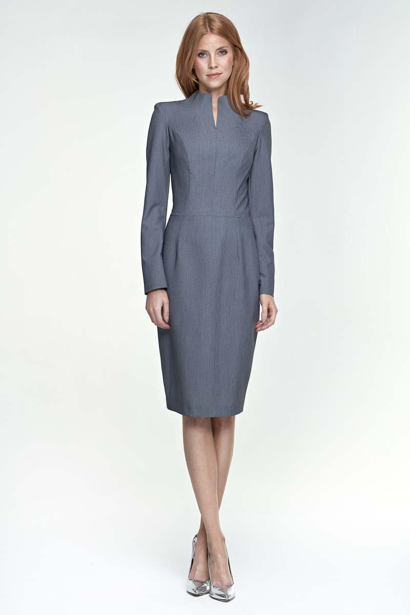 Grey Elegant Pencil Dress with Stand-up Collar