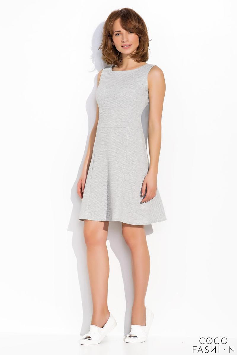 Grey Sleeveless Classic Round Neck Dress