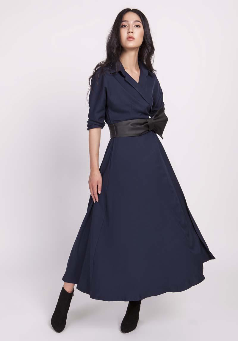 Navy blue flared dress with an envelope neckline