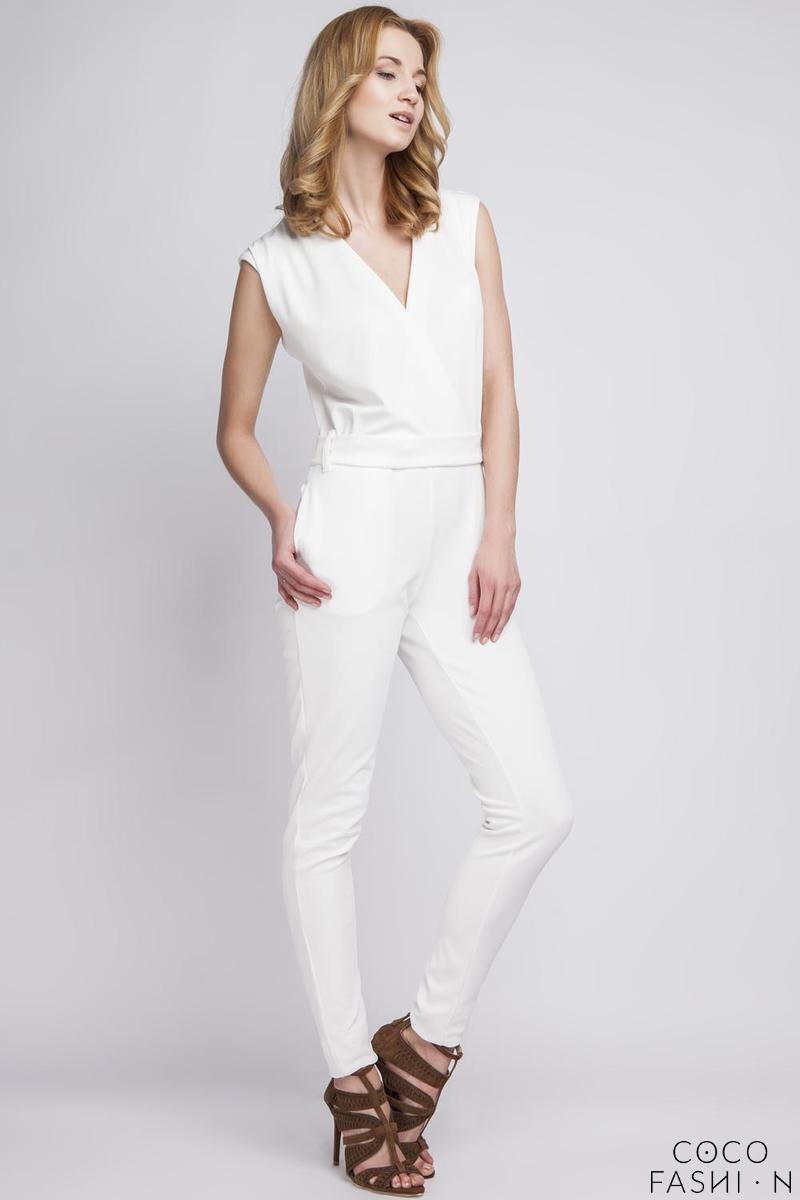 White Wrap Neckline Elegant Ladies Jumpsuit