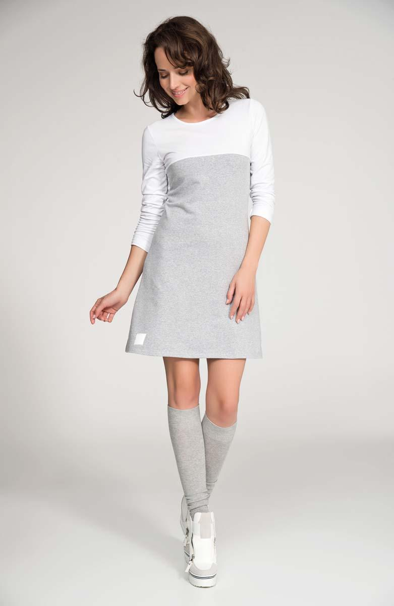 Grey&White Long Sleeved Flared Mini Dress