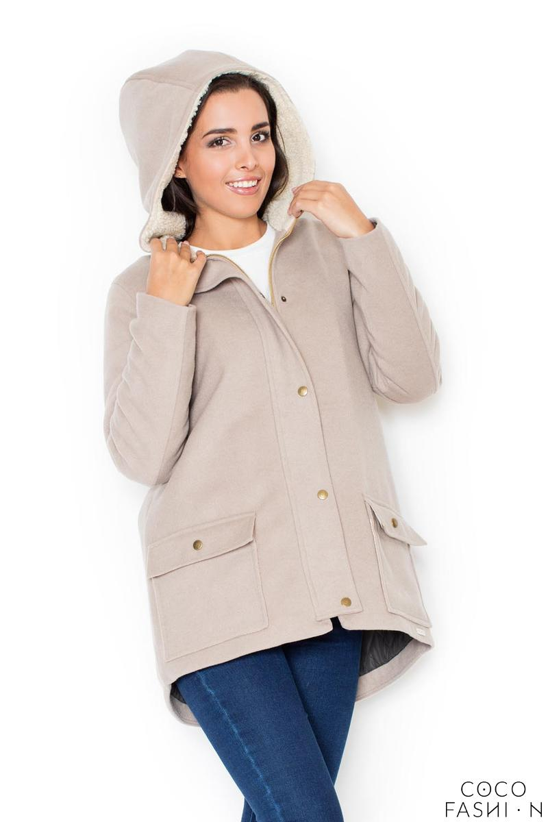 Beige Winter Hooded Snaps Closure Parka Jacket