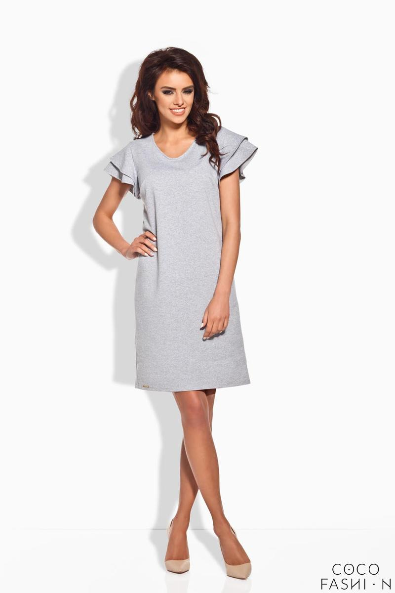 Light Grey Coctail Butterfly Sleeves Dress