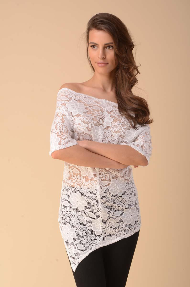 Asymmetrical Lace Blouse with Sleeves to the Elbow - Ecru