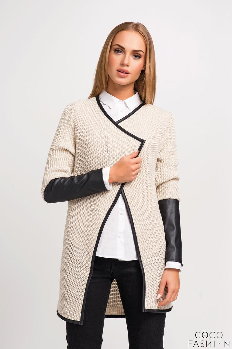 Beige Elegant Cardigan with Eco-leather Piping and Sleeves