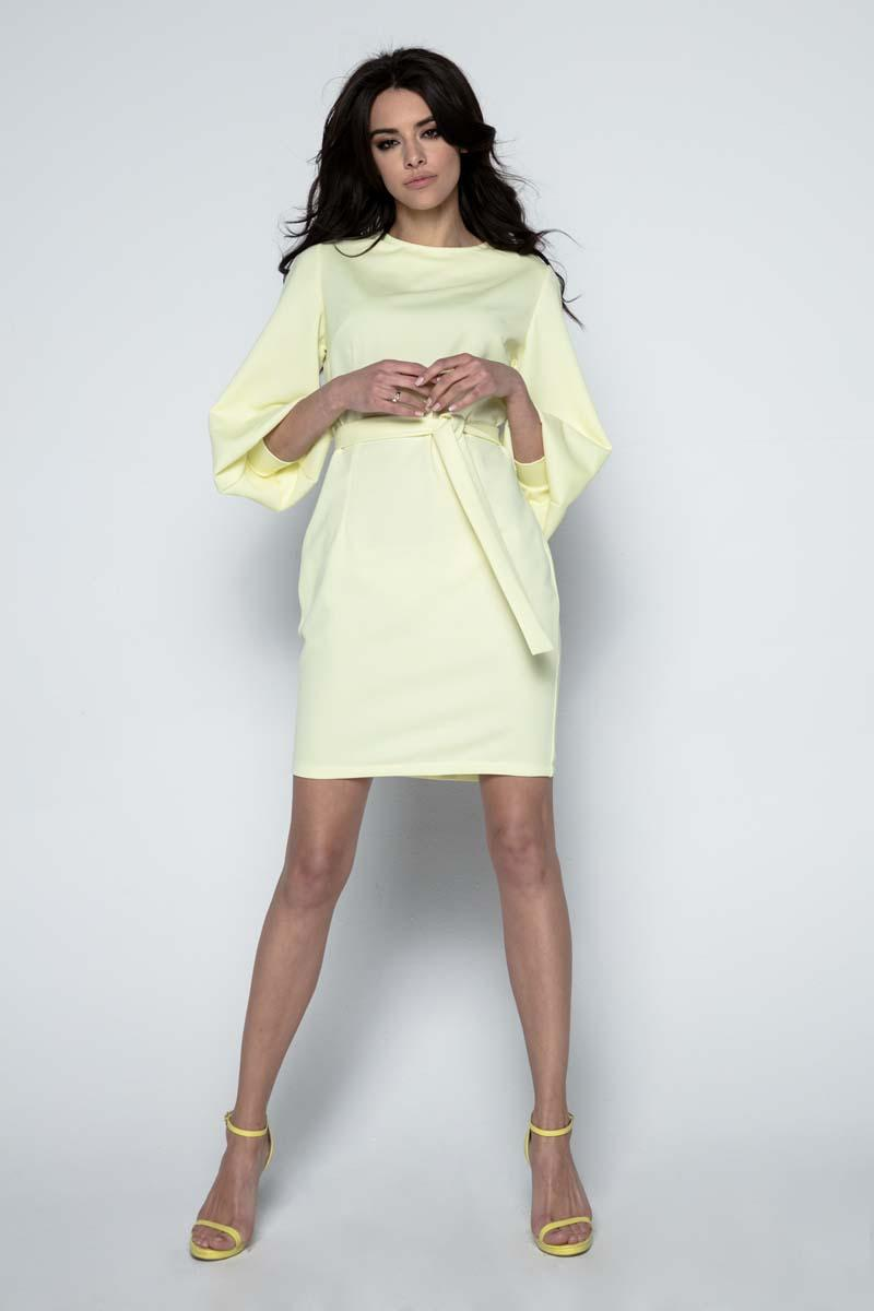 Yellow Wide Sleeves Dress with Self Tie Belt