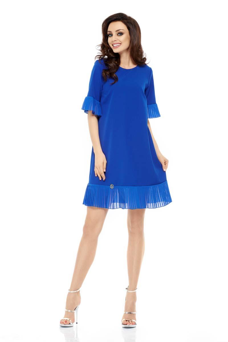 Blue Mini Dress with Frilled Bottom and Sleeve