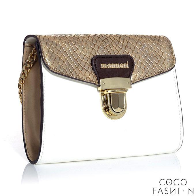 Elegant Shoulder White/Gold Bag With Gold Chain Monnari от cocofashion