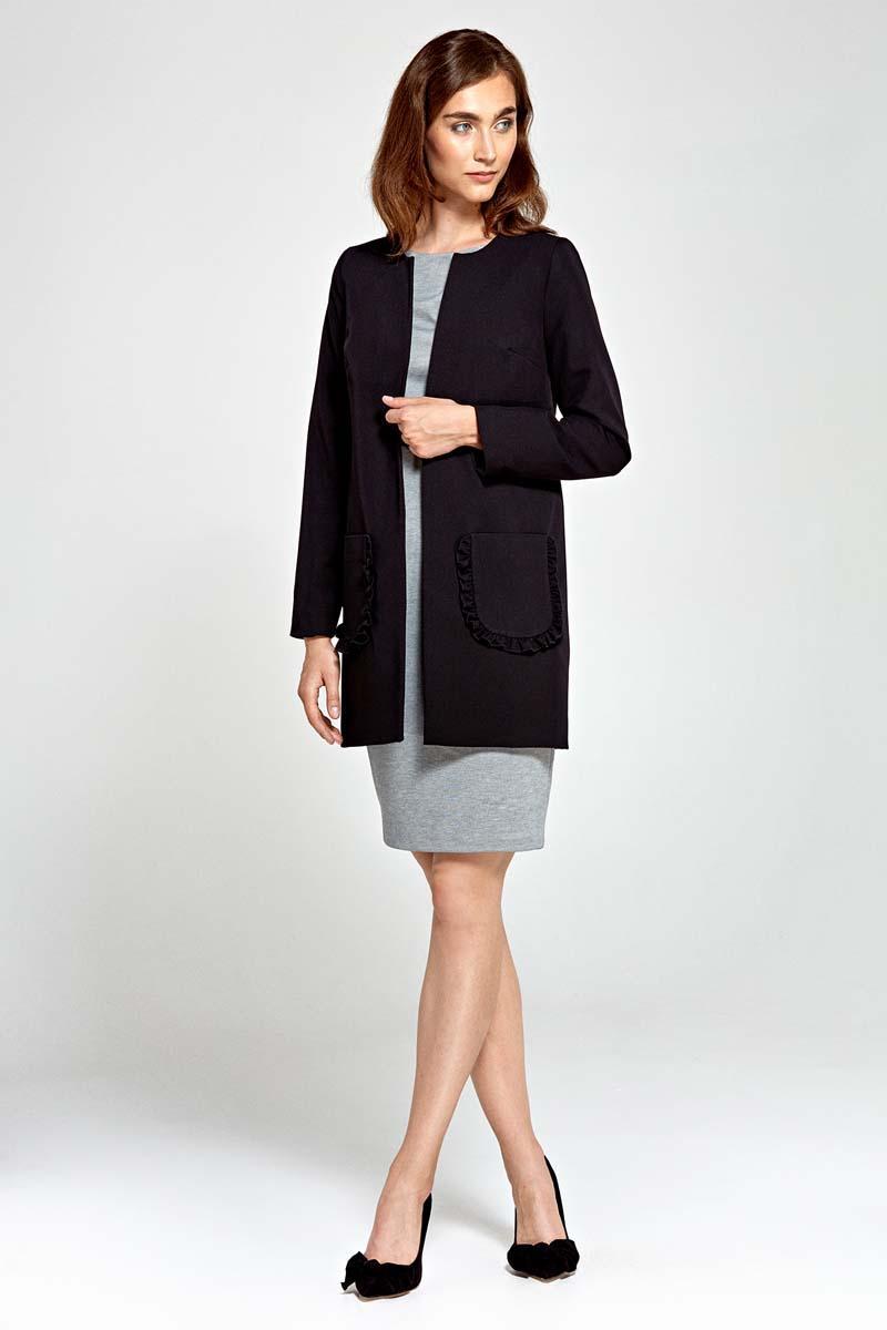 Black Long Ladies Blazer with Frills around Pockets