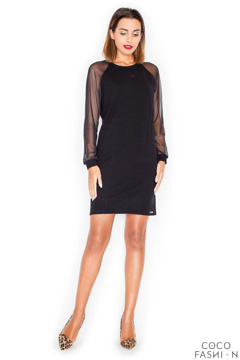 Black Casual Mini Dress with Transparent Sleeves от cocofashion