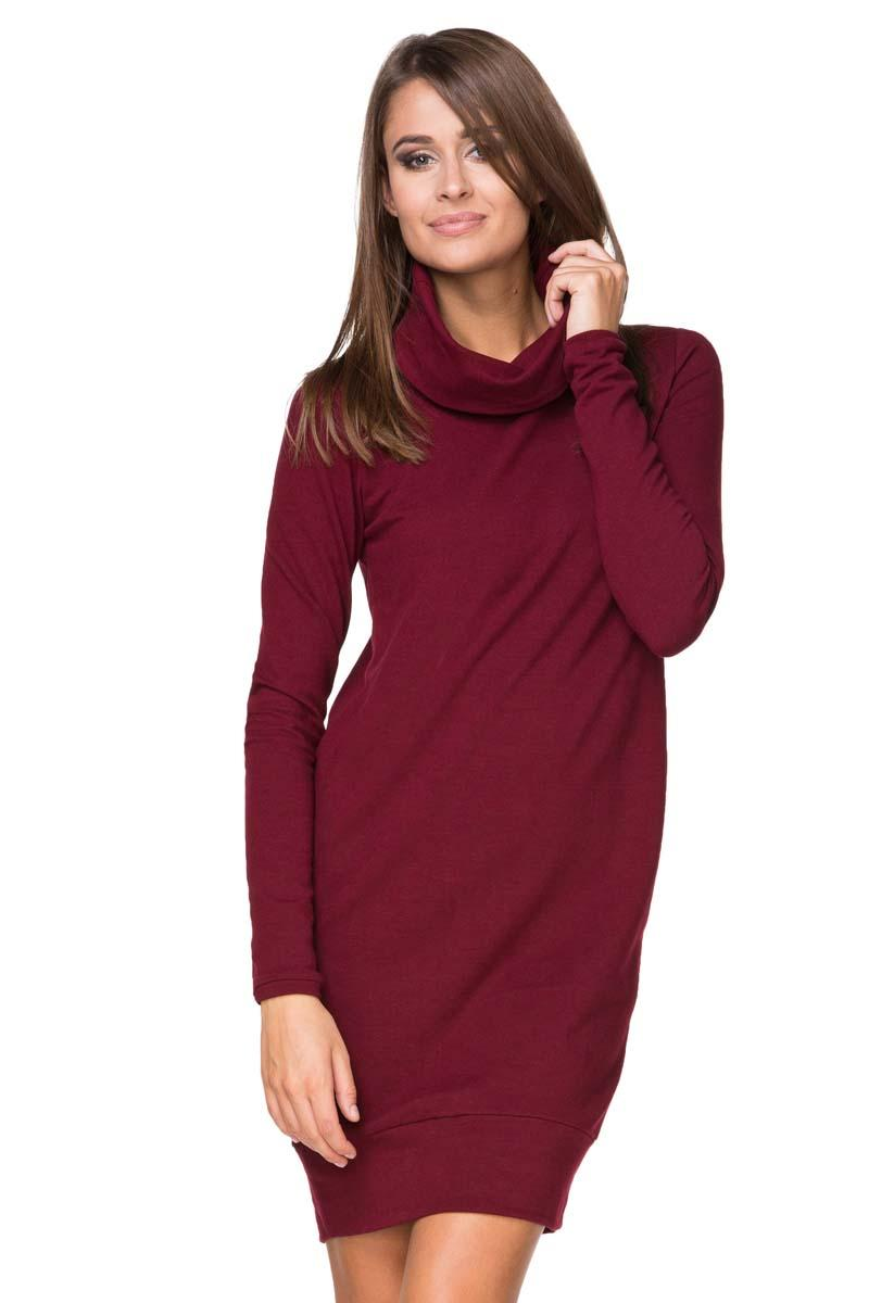 Maroon Casual Dress with Tourtleneck