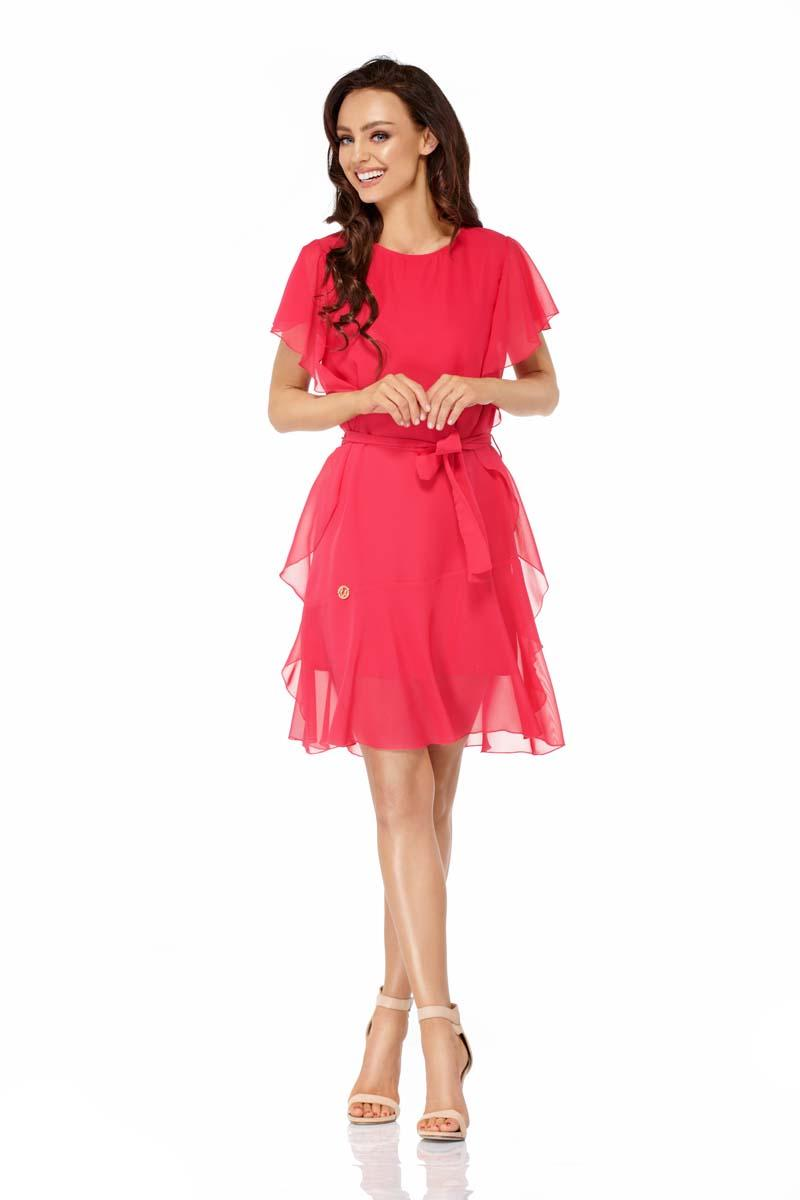 Raspberry Airy Dress with Frills Tied Stripe