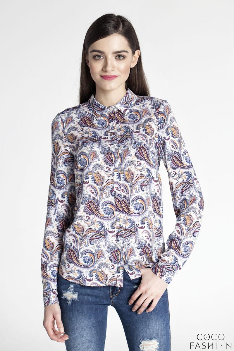 Floral Pattern Long Sleeves Classic Ladies Shirt