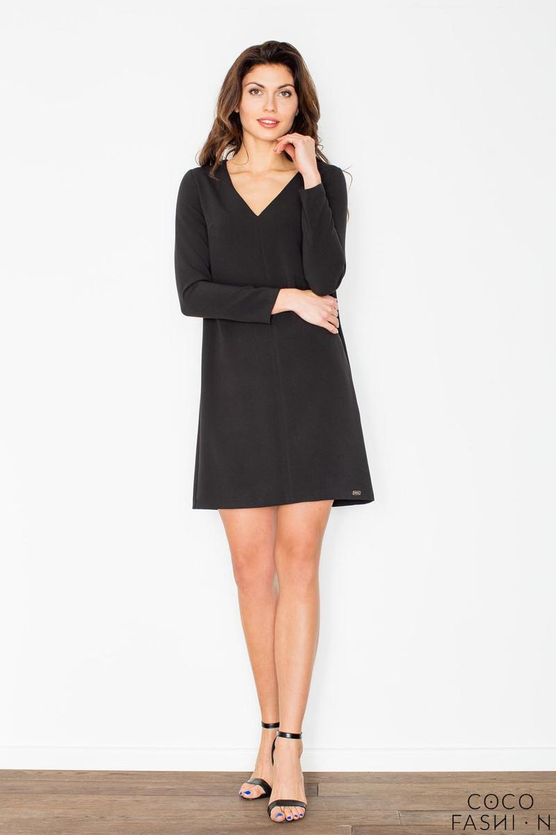 Black Mini V-Neckline Dress