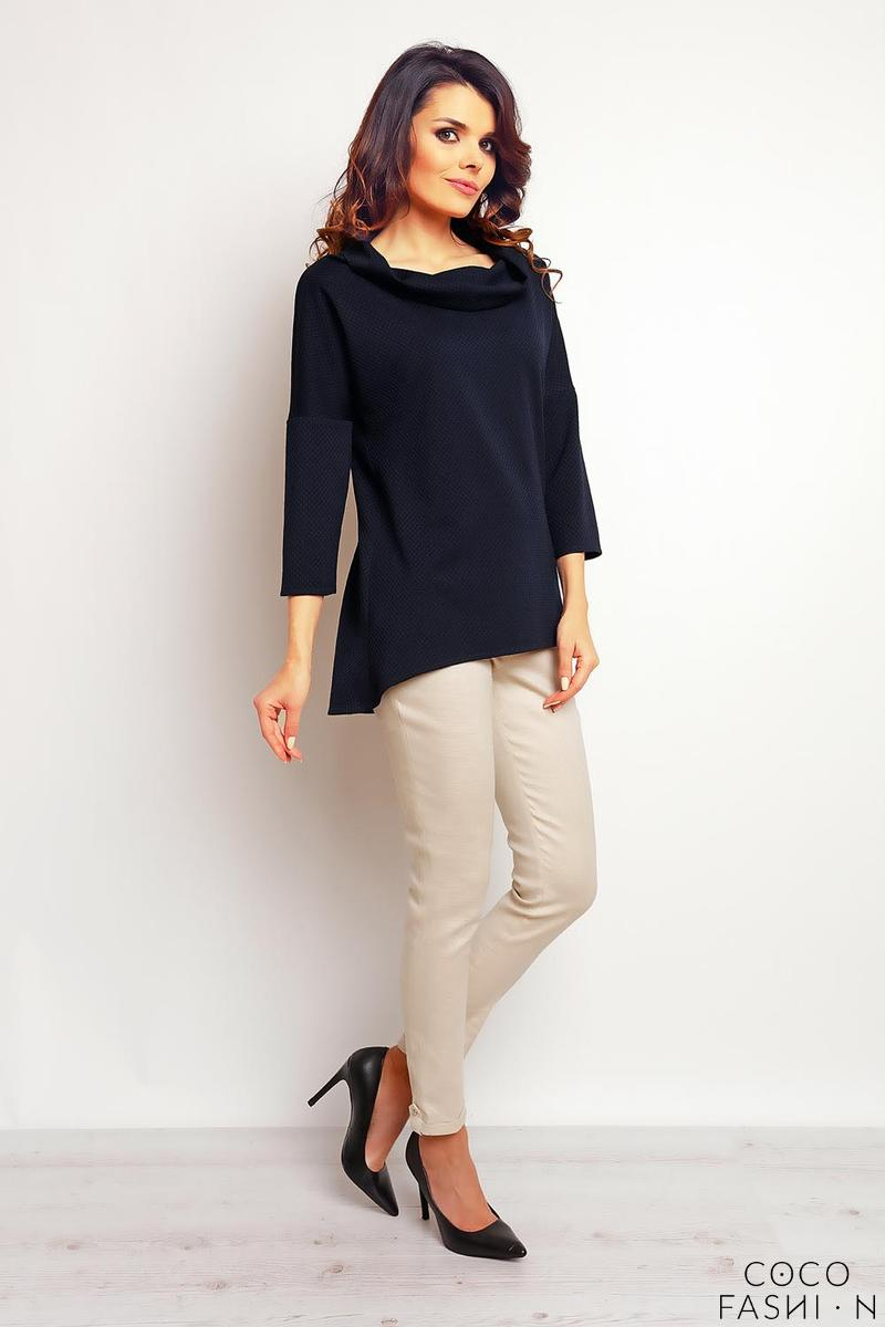 Dark Blue  Elegant Wide Tourtleneck Blouse