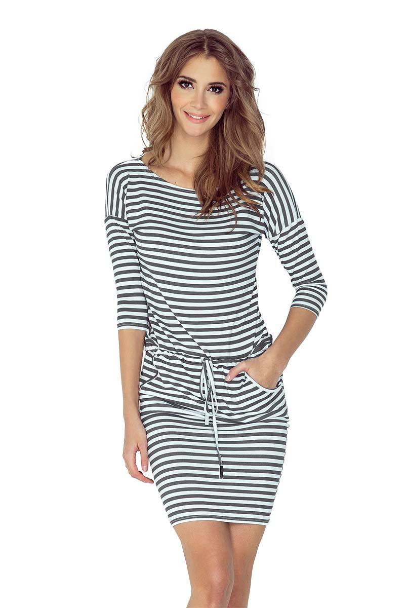 Dark Grey&White Striped Casual Style Drawstring Waist Dress