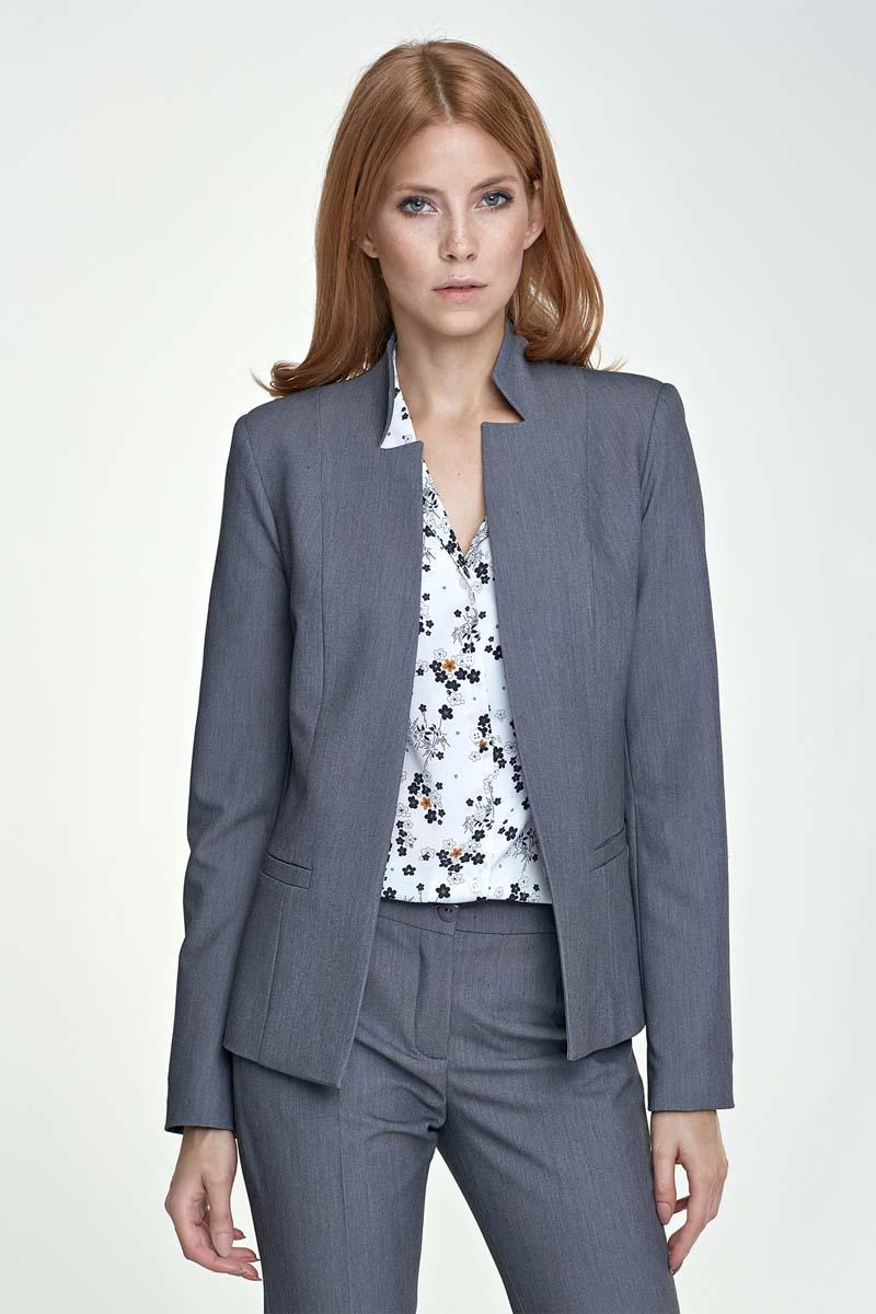 Grey Elegant Stand-up Collar Ladies Blazer