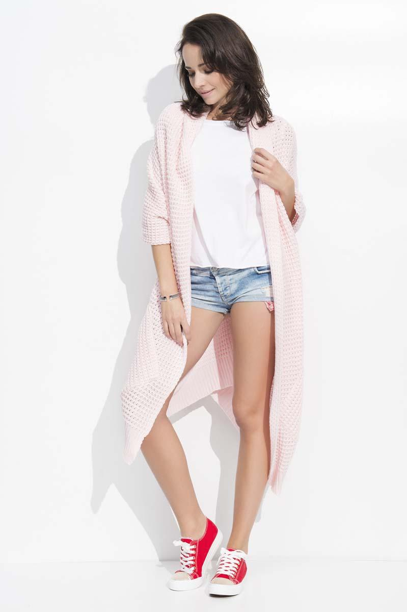 Pink Long Bat Sleeves Cape Cardigan