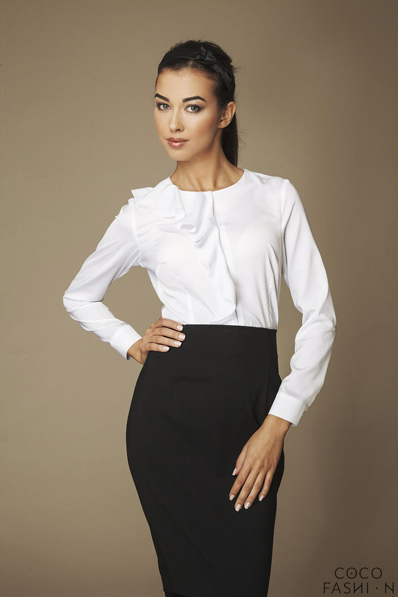 Collarless White Shirt with Asymmetrical Frilled Neckline
