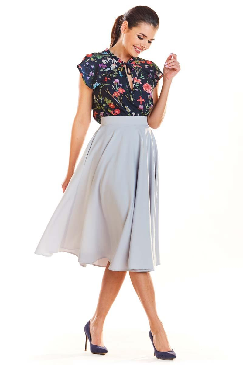Grey Midi Skirt with Pockets