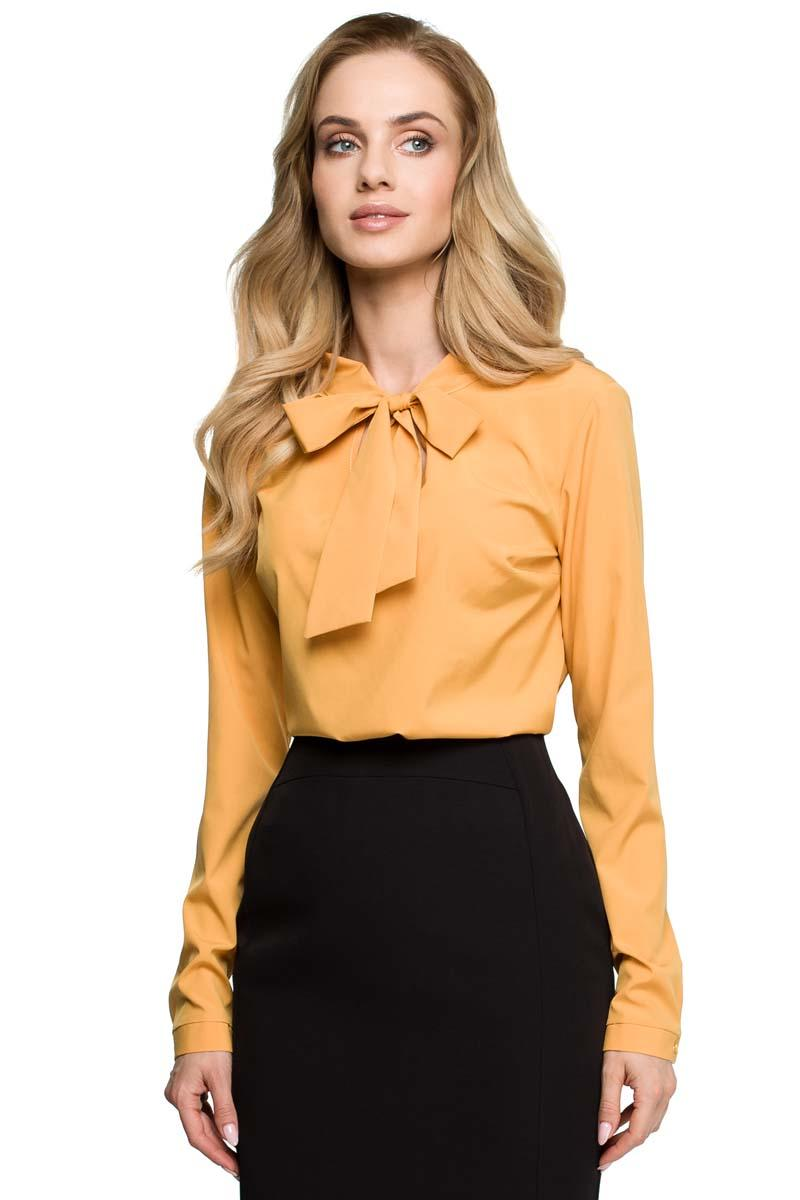Yellow Elegant Blouse With Ribbon