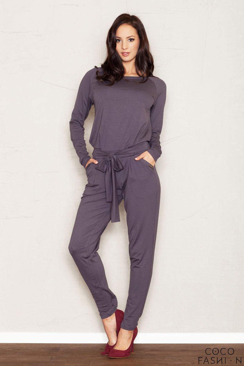 Grey Jumpsuit with Raglan Sleeves and Self Tie Belt