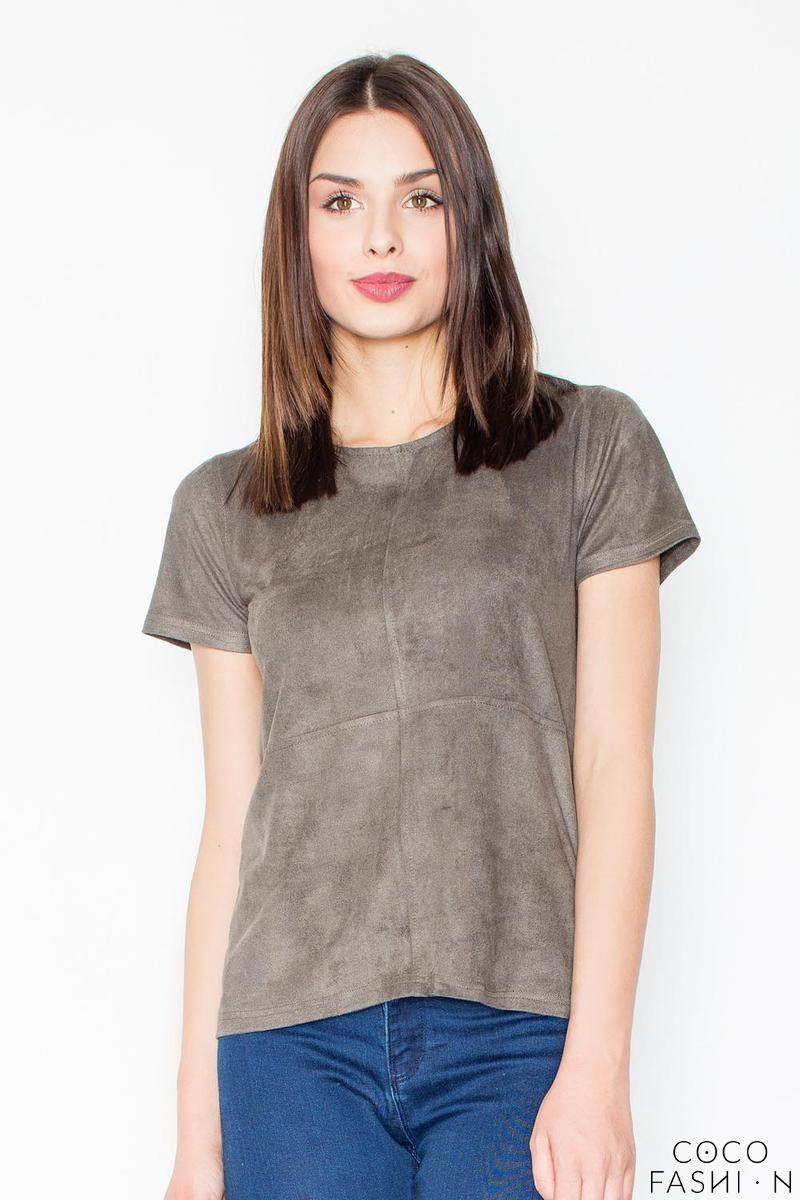 Olive Green Suede T-shirt with Zip at The Back