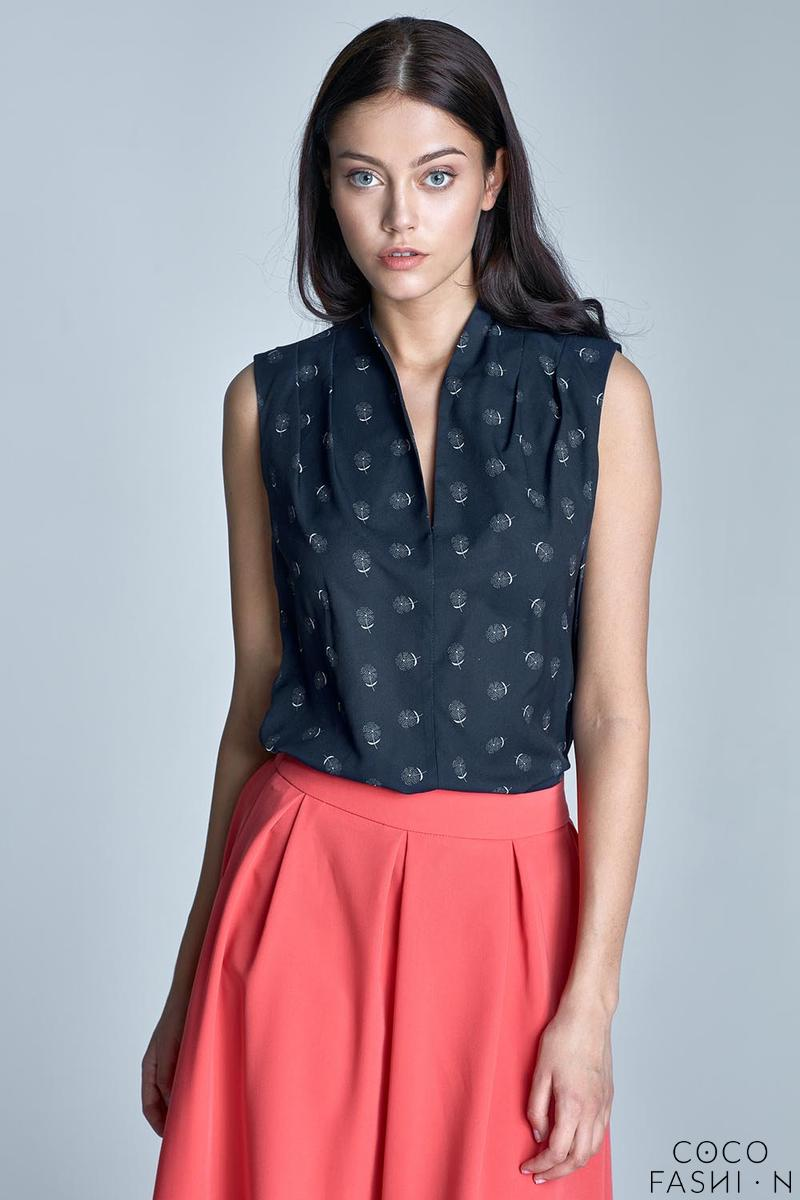 Dark Blue&White Delicate Pattern Sleeveless Summer Shirt