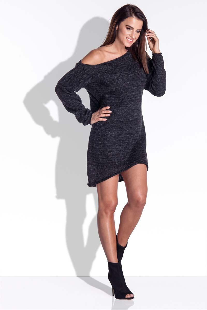 Black Knitted Dress with Asymetrical Neckline