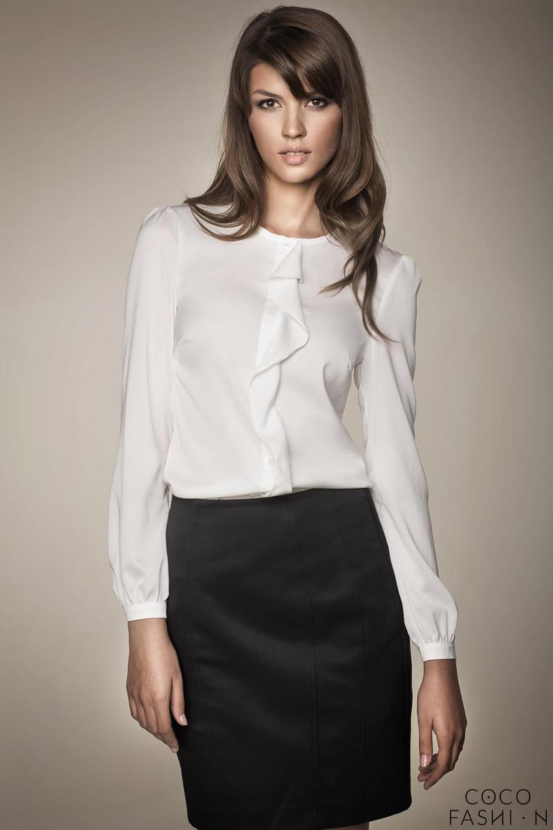 White Chic Buttons Closure Blouse with a Frill