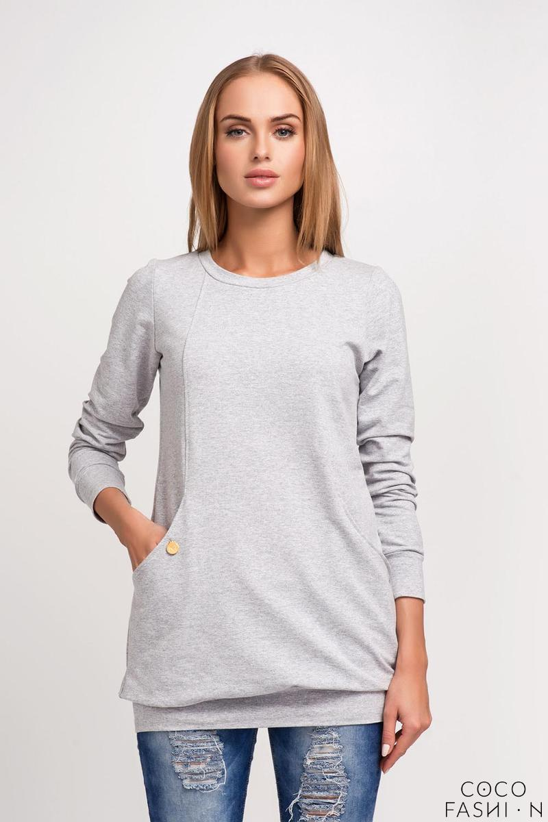 Grey Fitted Hem Band and Cuffs Round Neckline Sweatshirt