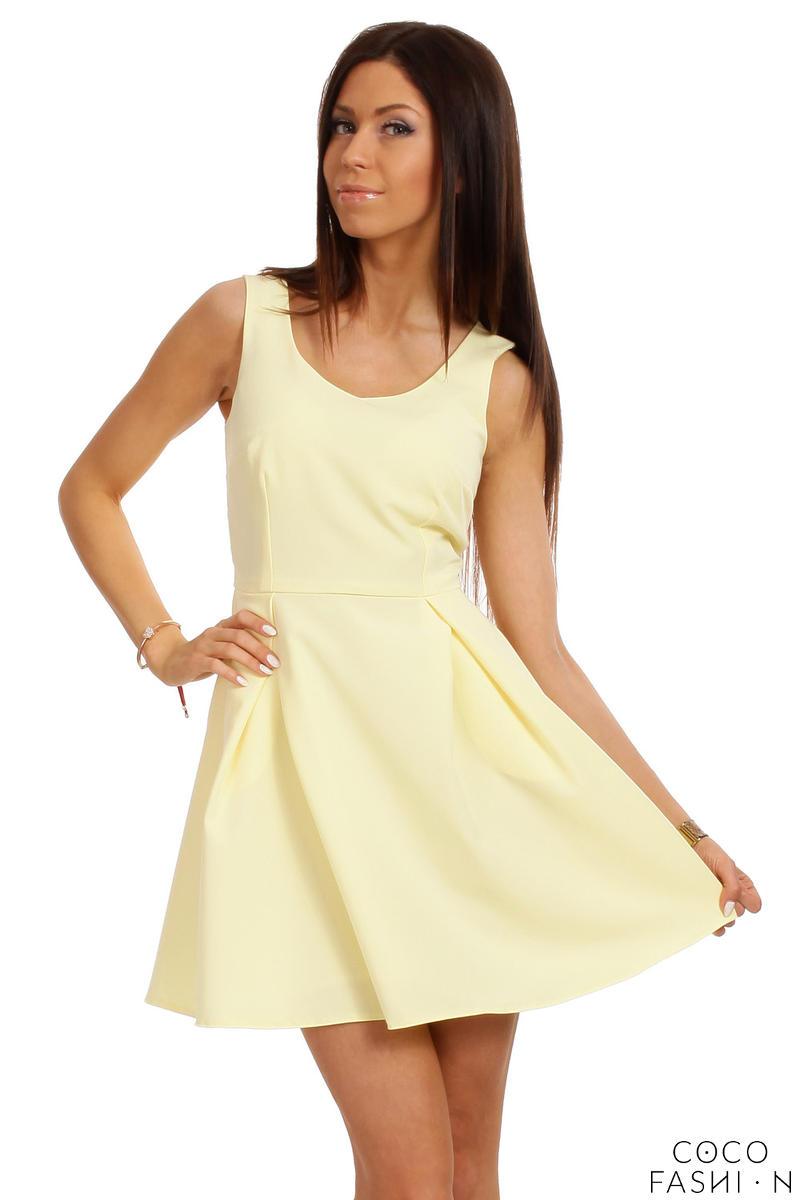 lemon-yellow-sleeveless-pleated-korean-flippy-dress