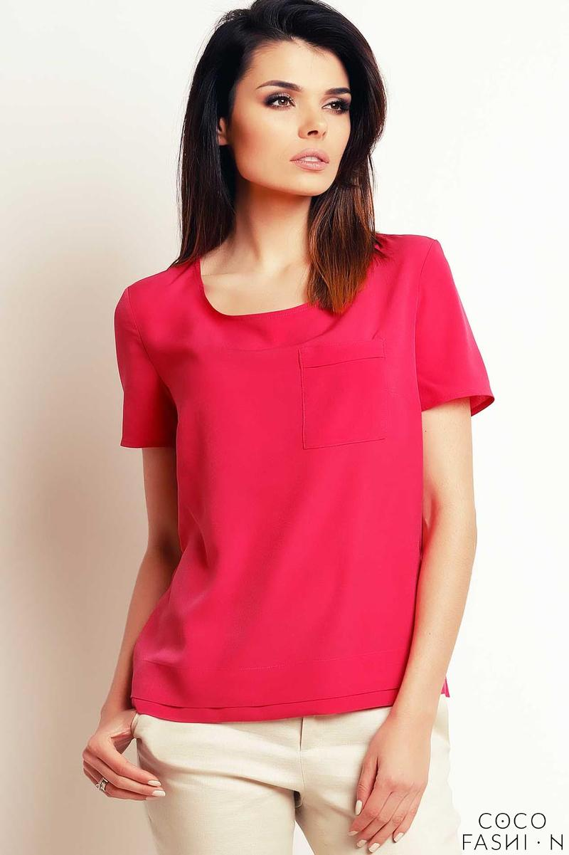 Pink Simple Short Sleeves Blouse with Pocket